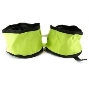 Dual Folding Pet Travel Bowl Green